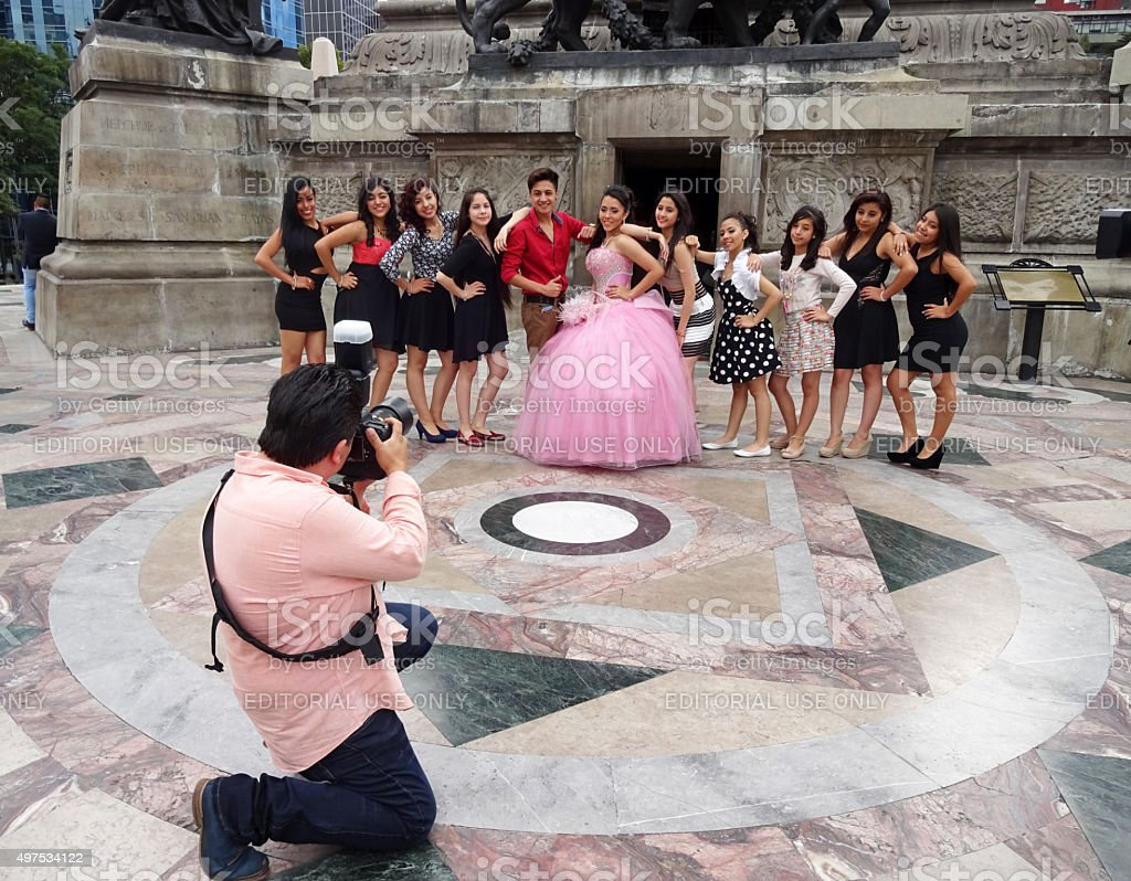 Photographing the Quinceanera in Mexico City stock photo