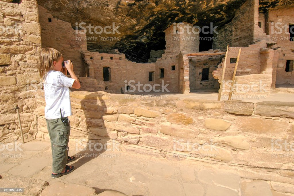 Photographing the ruin stock photo
