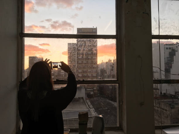 Fotografiar la puesta de sol - foto de stock