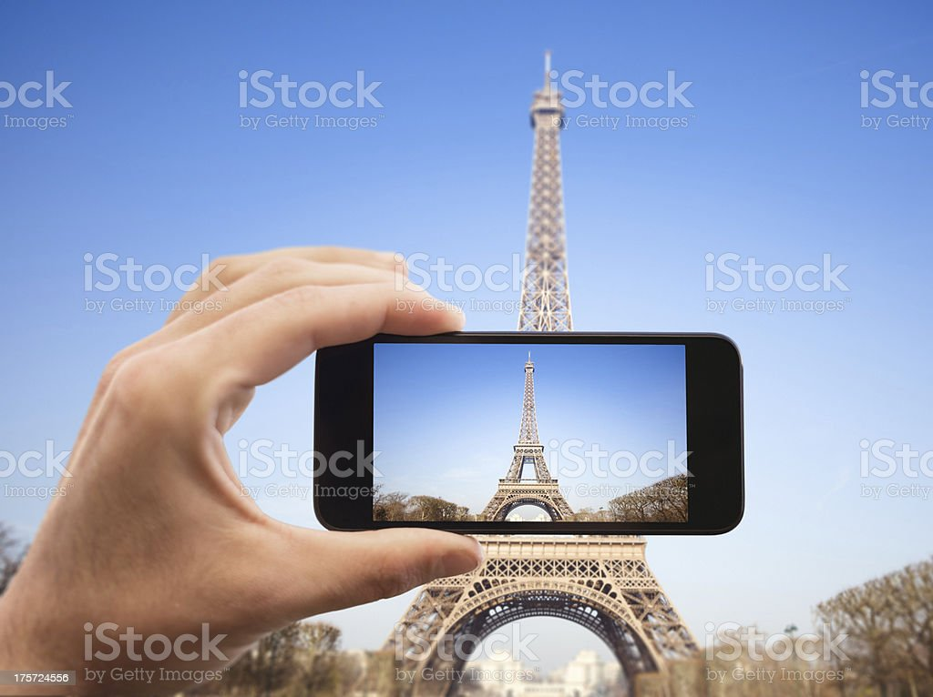 Photographing the tour eiffel royalty-free stock photo