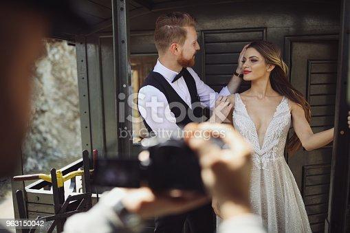 Photographing wedding couple