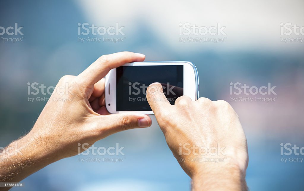 Photographing with smart phone stock photo