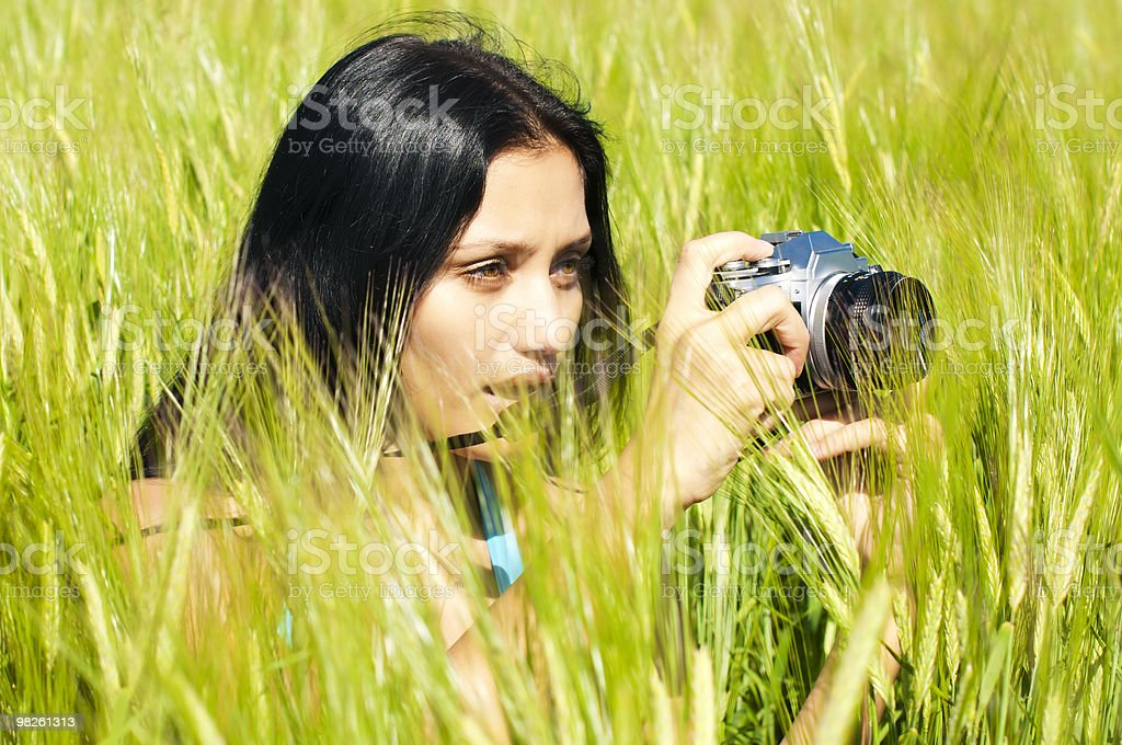 Photographing woman royalty-free stock photo