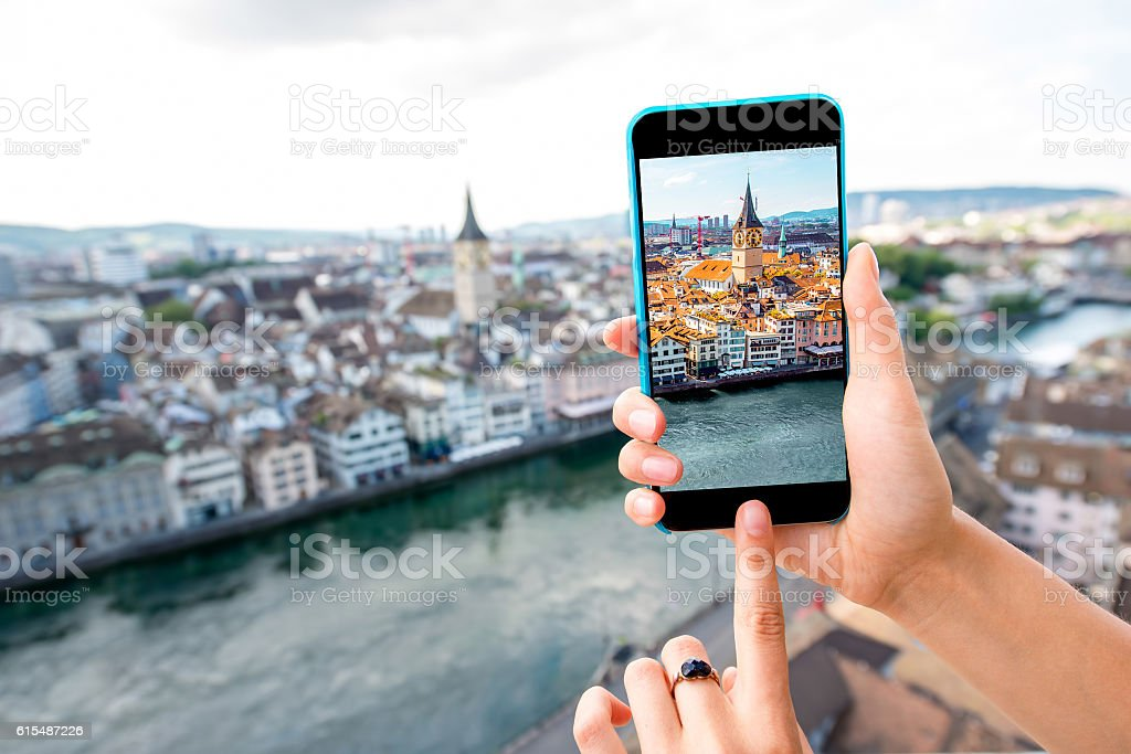 Photographing Zurich cityscape stock photo