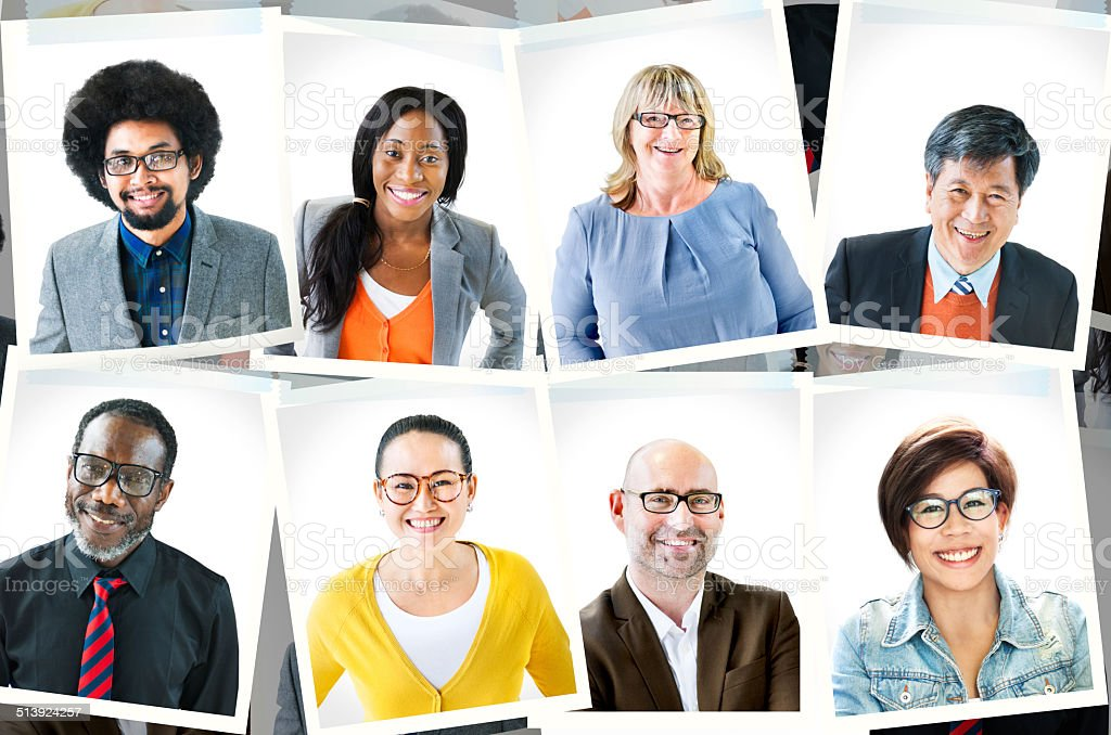 Photographs of Diverse Group of People stock photo