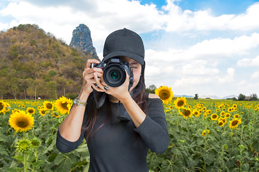Photography and Traveler  asian women covering her face with the camera in the sunflower field, Thailand