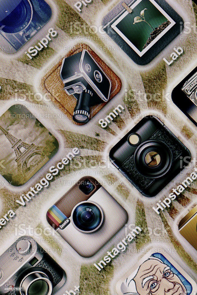 Photography apps on iPhone 4 screen stock photo
