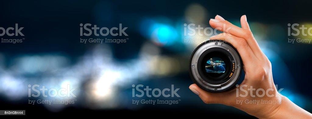 Photography camera lens concept. stock photo