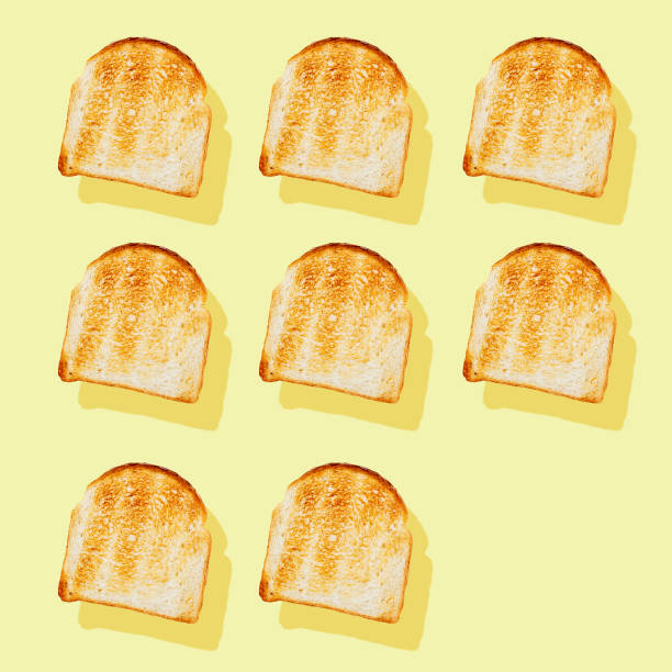 photography collage of toasted bread on pastel yellow background top view flat lay isometric food pattern - icon set healthy foto e immagini stock