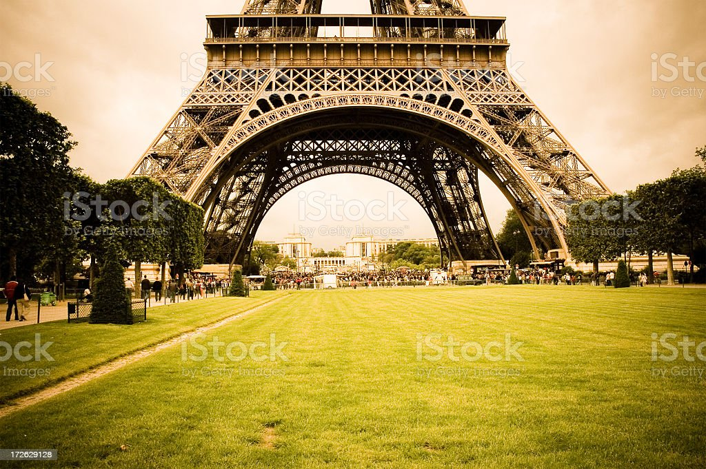 Photography of the bottom of the Eiffel Tower in Paris royalty-free stock photo