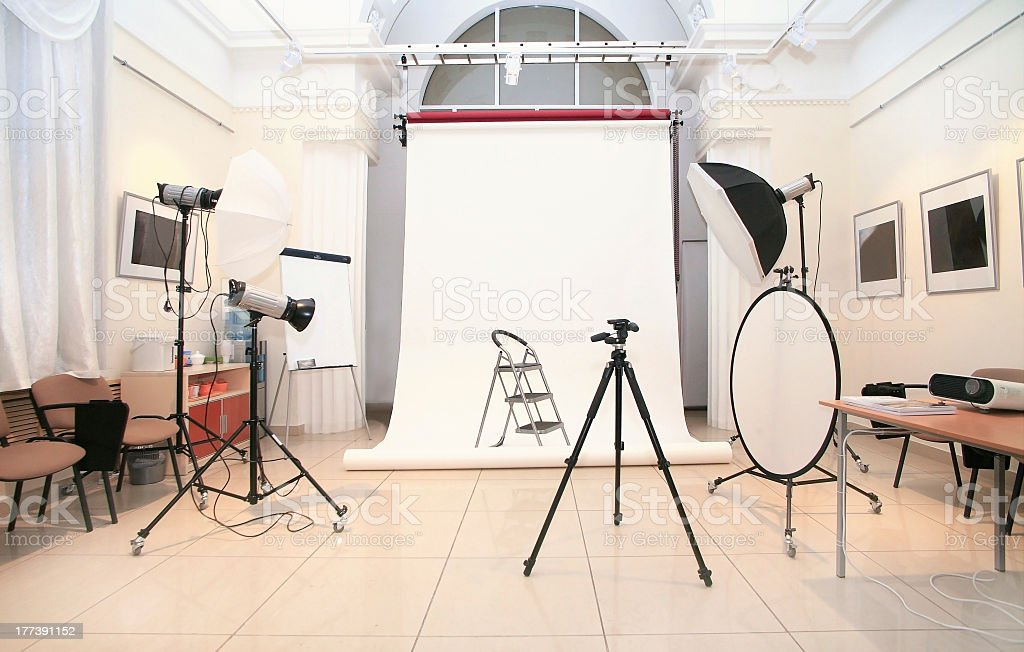 Photography studio with several lights and cameras royalty-free stock photo