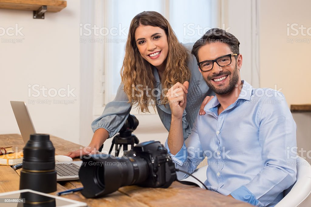 Photography team at work stock photo