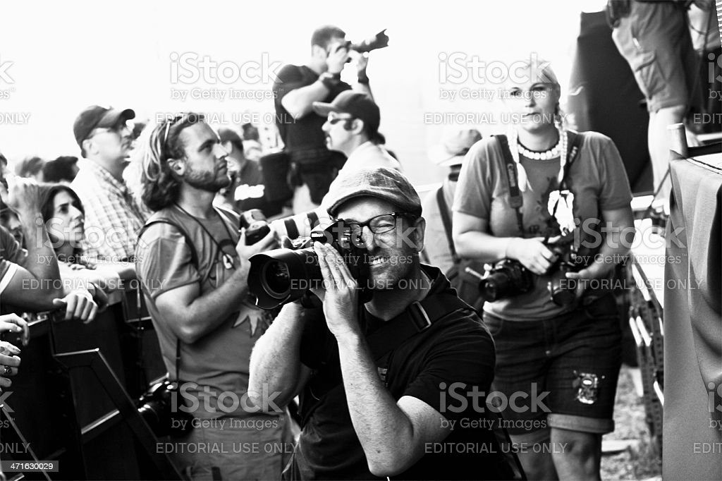 Photojournalists at Music Festival royalty-free stock photo
