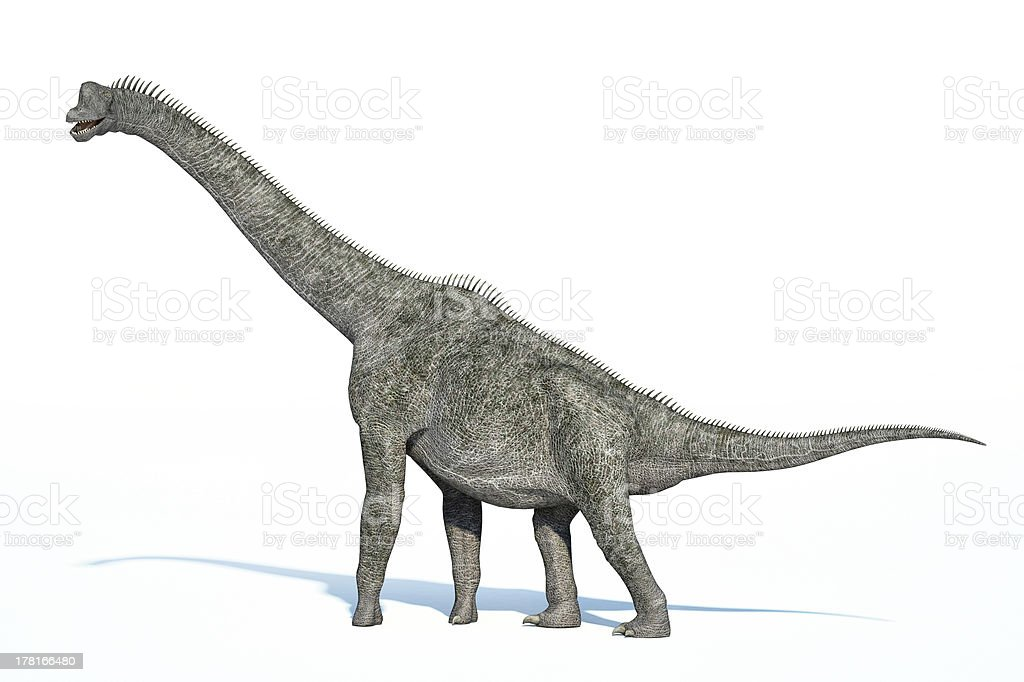 Photorealistic 3 D rendering of a Brachiosaurus. stock photo