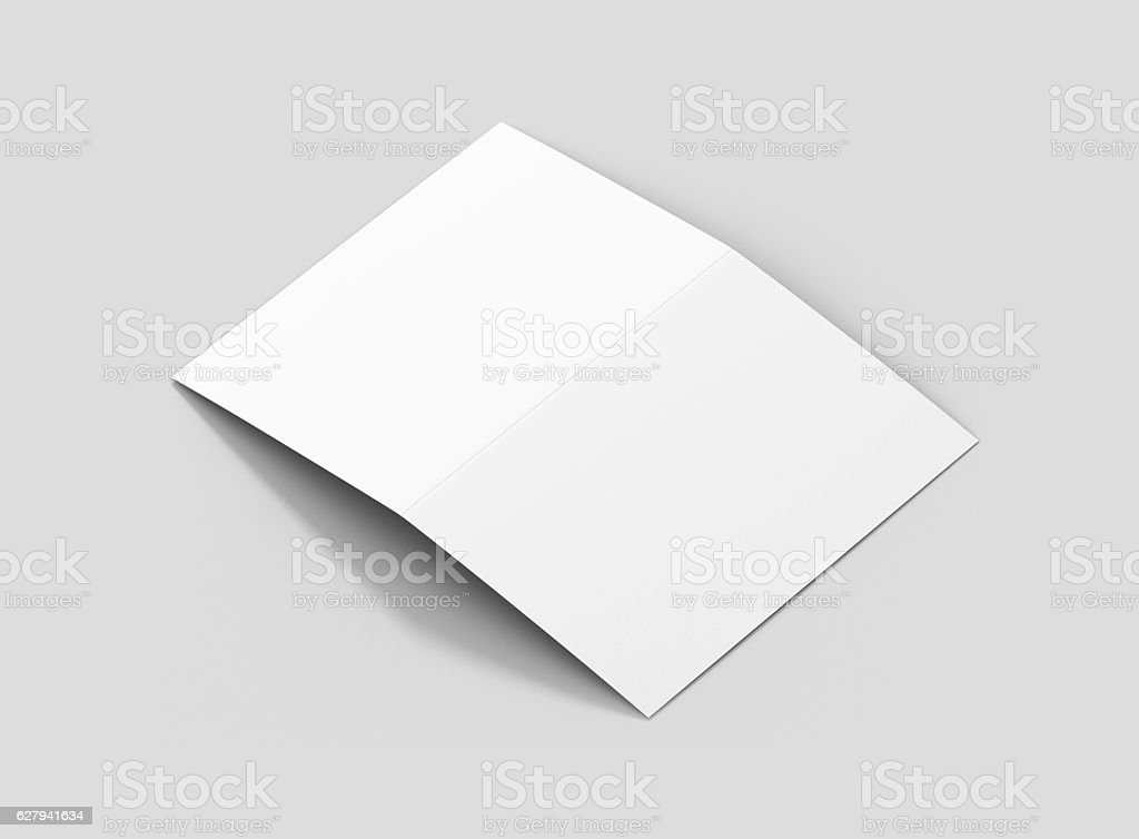 Photorealistic A5 Bifold Brochure Mockup on light grey background. stock photo
