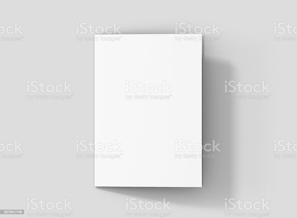 Photorealistic A5 Bifold Brochure Mockup on light grey background. - foto de stock