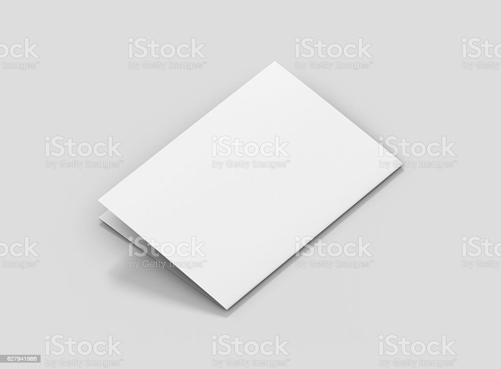 Photorealistic A5 Bifold Brochure Mockup on light grey background. stock photo