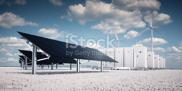 istock Photorealistic futuristic concept of renewable energy storage. 1128871378