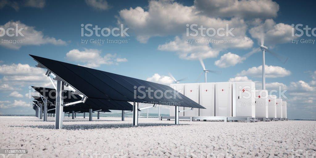 Fotorealistische futuristisches Konzept der Speicherung erneuerbarer Energien. – Foto