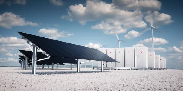 Concepto futuro fotorealista de almacenamiento de energía renovable. - foto de stock