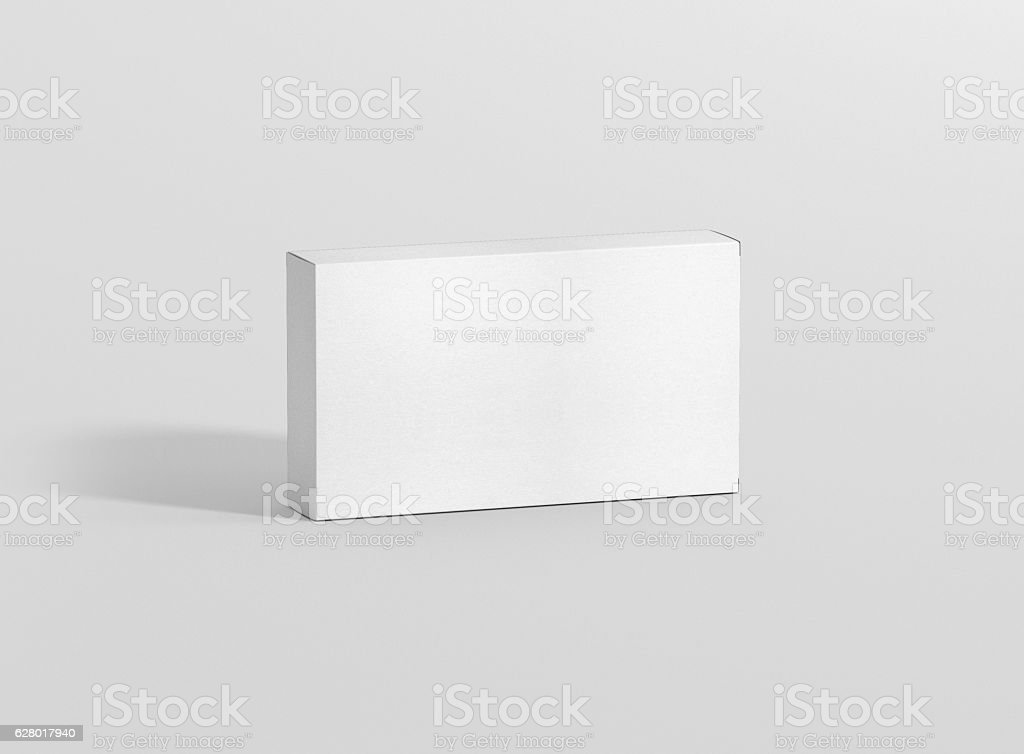 Photorealistic high quality Wide Flat Rectangle Package Box Mockup. - foto de stock