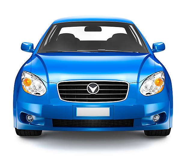 photorealistic illustration of blue car - front view stock photos and pictures