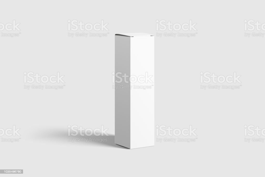 Photorealistic Long Rectangle Cardboard Package Box Mockup on light grey background. stock photo