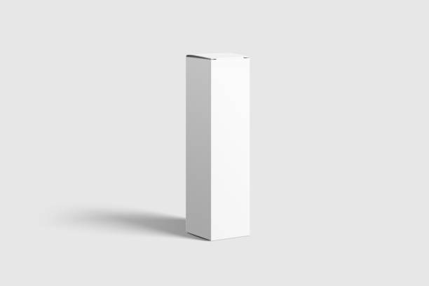 photorealistic long rectangle cardboard package box mockup on light grey background. - packaging foto e immagini stock
