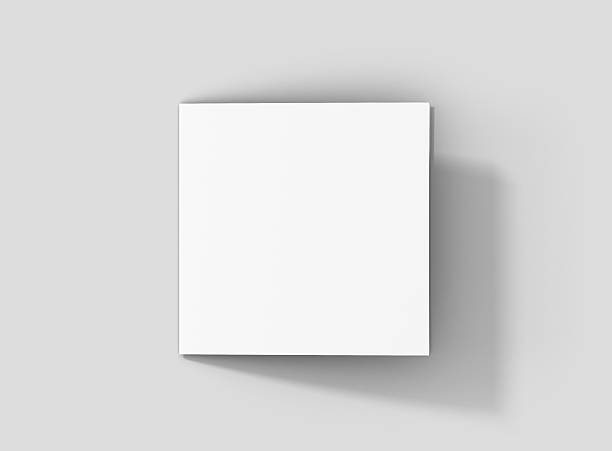 Photorealistic Square Bifold Brochure Mockup on light grey background. stock photo