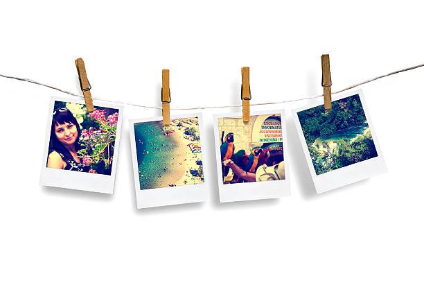 fotos von urlaub hängen wäscheleine mit meerblick - horizontal gestreiften vorhängen stock-fotos und bilder