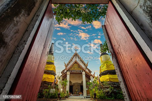 Photos  Search by image Wat Khok Kham an old chapel building that was once visited by King Rama 4.The gable of the chapel has a wooden engraving.,Samut Sakhon,Thailand