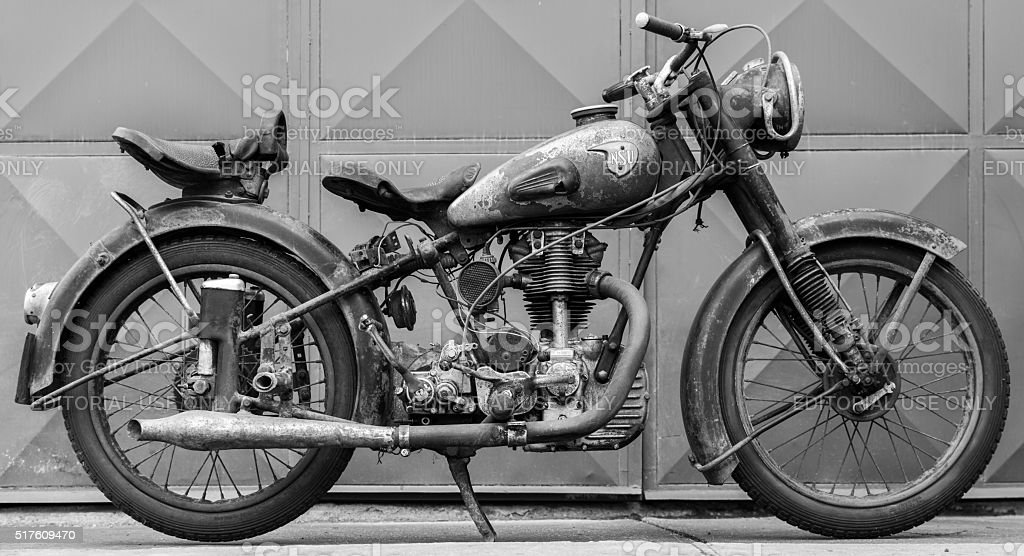 Photoshoot of motorcycle NSU OSL 251 from year 1951 stock photo