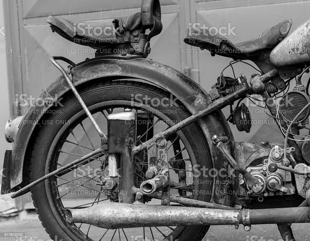 Photoshoot of motorcycle NSU OSL 251 from year 1951 stock photo