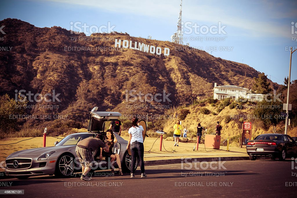 Photoshoot with Hollywood Sign on background stock photo