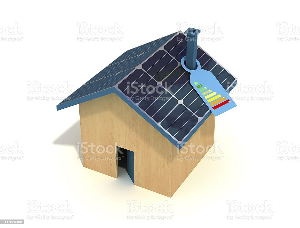 photovoltaic house  with quality label royalty-free stock photo