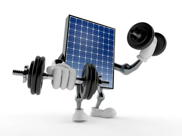 Photovoltaic panel character with dumbbells - foto stock