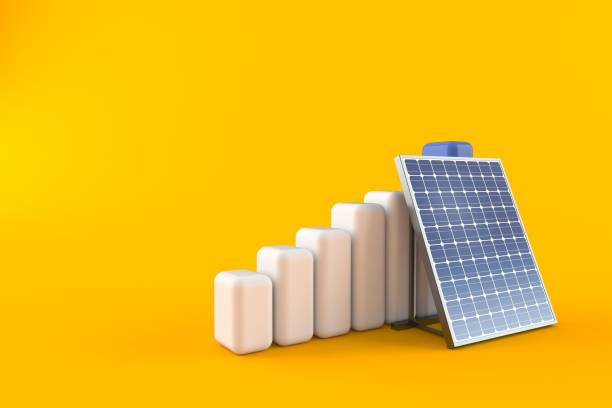 Photovoltaic panel with chart - foto stock