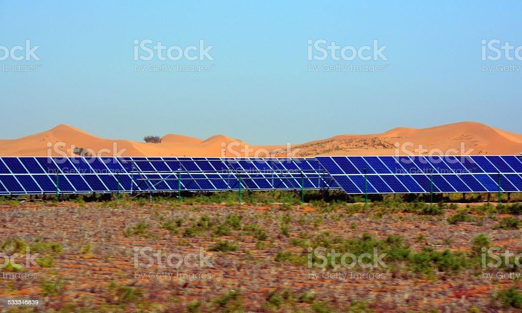 Photovoltaic panels, Tengger desert Inner Mongolia stock photo
