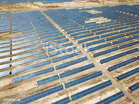 photovoltaic plant on the desert in Gansu Province, China