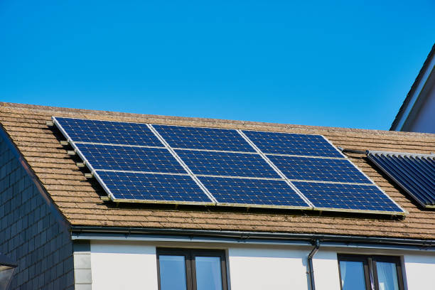 photovoltaic power plant on a British house stock photo