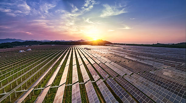 photovoltaic power plant - climate stock photos and pictures