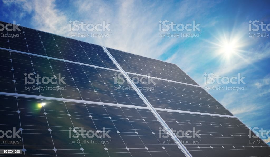 Photovoltaic solar panels. 3D rendered illustration. stock photo