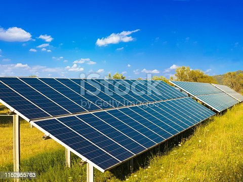 photovoltaic solar park  in the natural enviroment green energy production