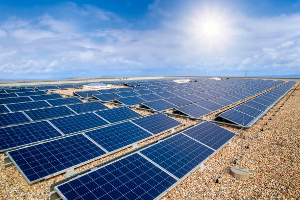 Photovoltaic system on the roof of a building stock photo