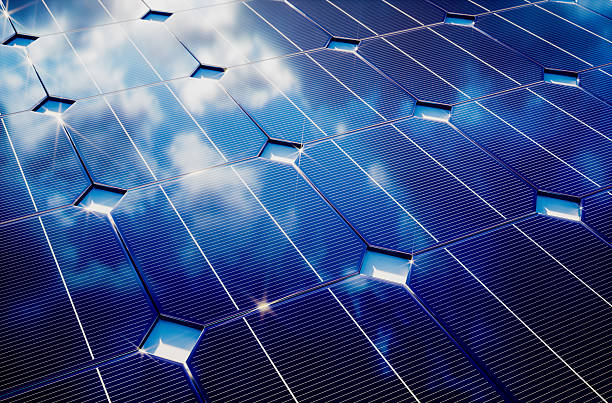 Photovoltaic with cloudy sky reflection stock photo