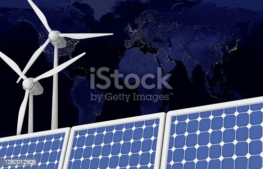 3d render. Wind power and solar power stations on world map background.