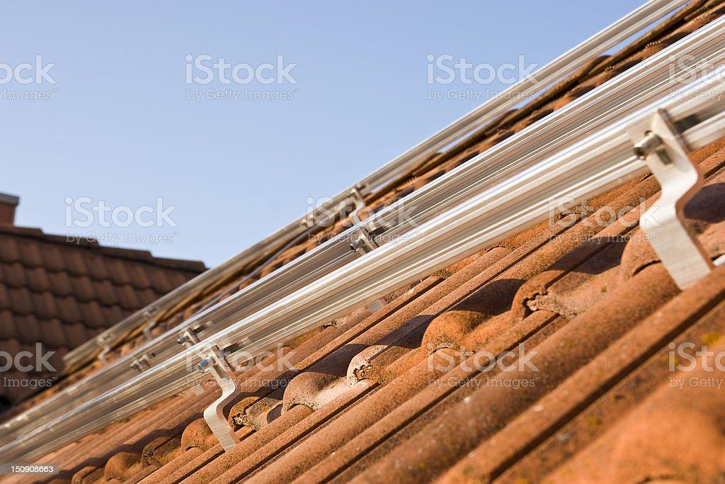 Photovoltaics mounting profiles stock photo