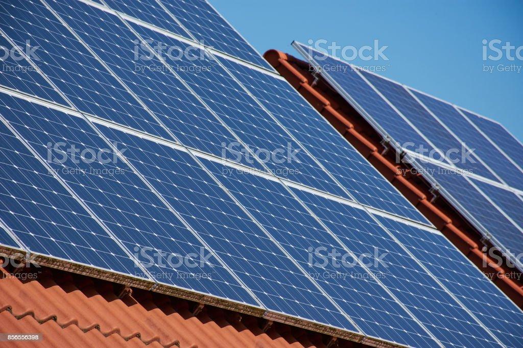 Photovoltaik Anlage auf Dächern stock photo