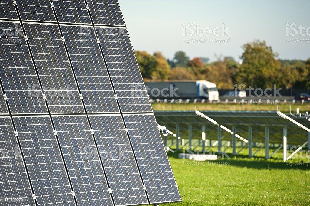 Photovoltaik - renewable and green engery: closeup of solar panels stock photo