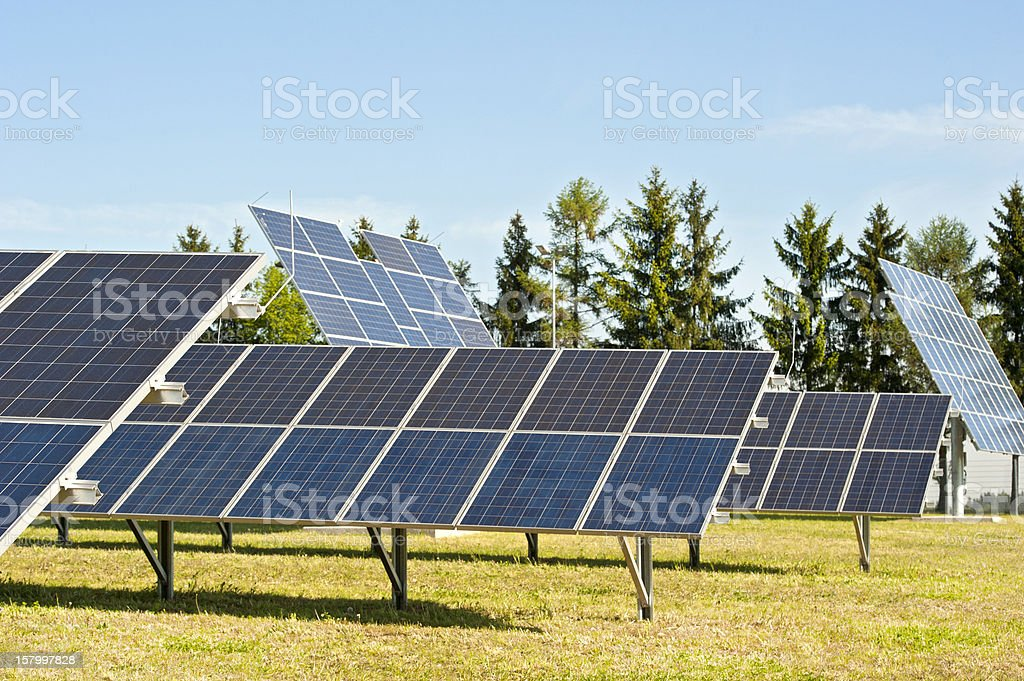 Photovoltaik - renewable engery: closeup of solar panels stock photo